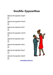 Double Opposites Worksheet