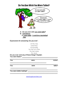 Do you ever wish you were taller? Worksheet