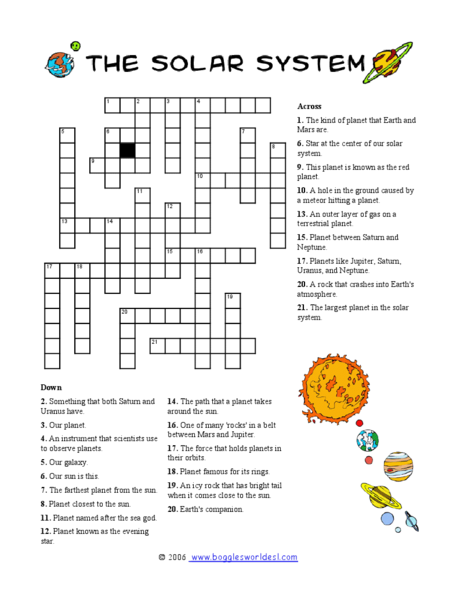 solar system crossword 2 worksheet for 4th 8th grade lesson planet. Black Bedroom Furniture Sets. Home Design Ideas