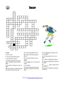 Soccer Crossword Puzzle Worksheet for 3rd - 6th Grade