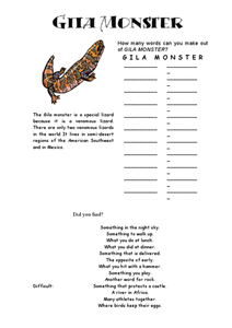 Gila Monster Word Challenge Worksheet