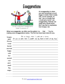 Exaggerations Worksheet
