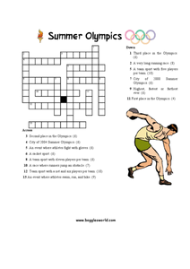 Summer Olympics Crossword Worksheet