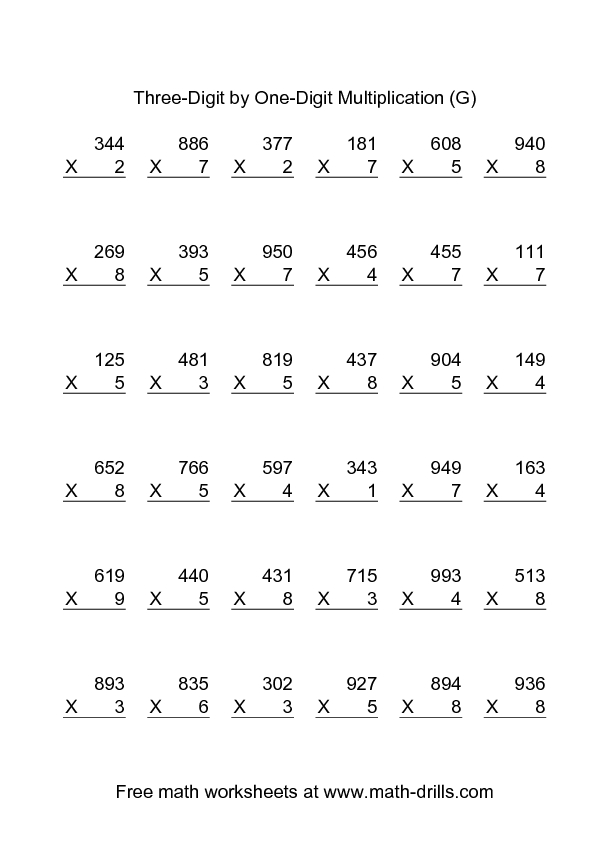 Three-Digit by One-Digit Multiplication (G) Worksheet for 4th ...