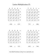 Lattice Multiplication (T) Worksheet
