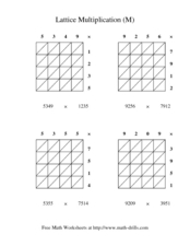 Lattice Multiplication (M) Worksheet