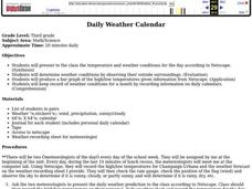 Daily Weather Calendar  Lesson Plan