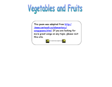 Vegetables and Fruit Songs Worksheet