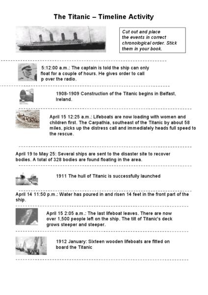 timelines worksheets