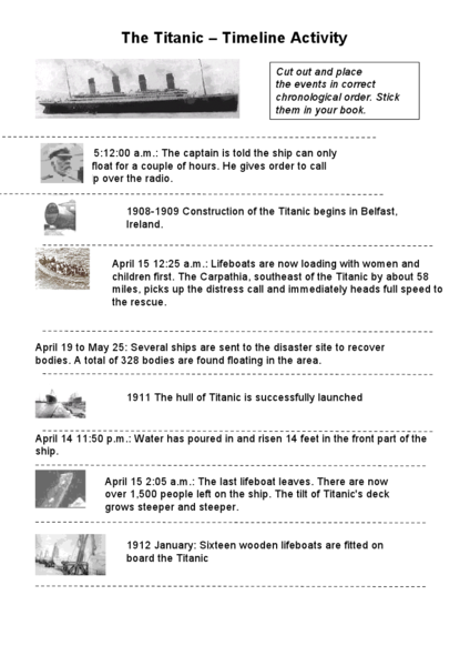 The Titanic - Timeline Activity 5th - 6th Grade Worksheet | Lesson ...