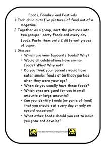 Food, Families, and Festivals Worksheet