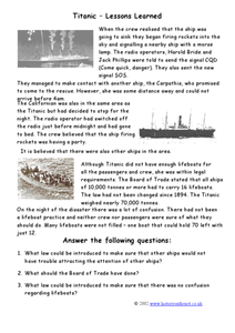 Titanic: Lessons Learned Worksheet