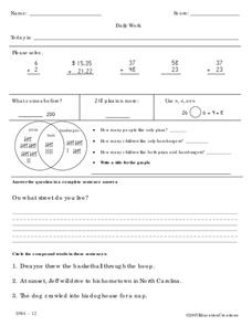 Daily Work Worksheet