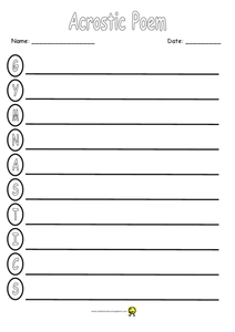 Gymnastics Acrostic Worksheet