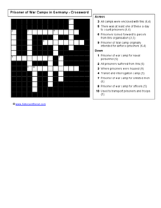 Prisoner of War Camps In Germany- Crossword Worksheet