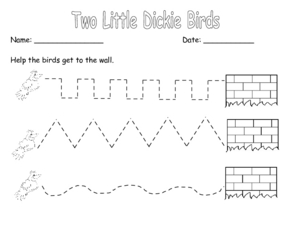Two Little Dickie Birds Tracing Activity Worksheet