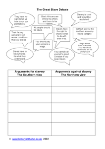 The Great Slave Debate 4th - 5th Grade Worksheet | Lesson Planet