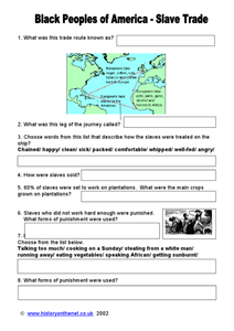 Black Peoples of America: Slave Trade Worksheet