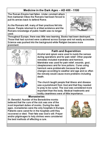 Medicine in the Dark Ages Worksheet
