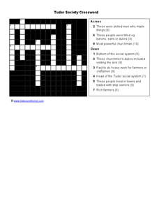 Tudor Society Crossword Worksheet
