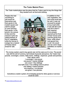 The Tudor Marketplace: Information Sheet Worksheet
