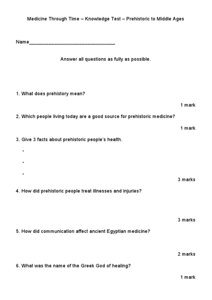 Medicine Through Time Worksheet for 6th - 7th Grade | Lesson