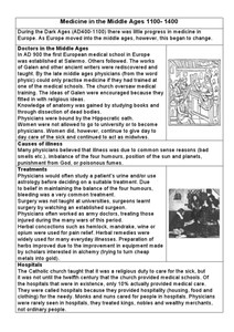 Medicine in the Middle Ages 1100- 1400 Graphic Organizer