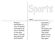 Sports Book Worksheet