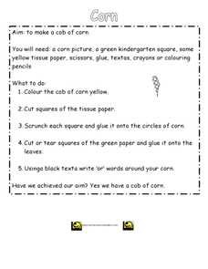 Make a Cob of Corn Worksheet