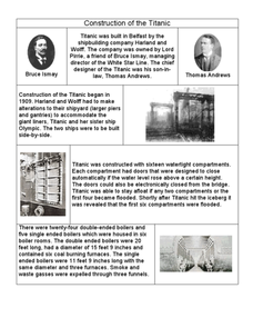 Construction of the Titanic Worksheet