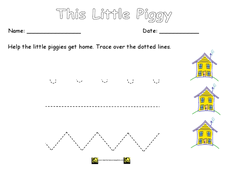 Tracing Piggy Lines Worksheet