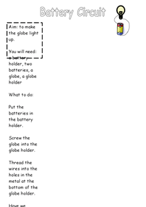 Battery Circuit Worksheet