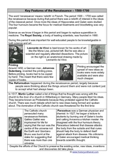 Key Features of the Renaissance – 1500-1700 Worksheet