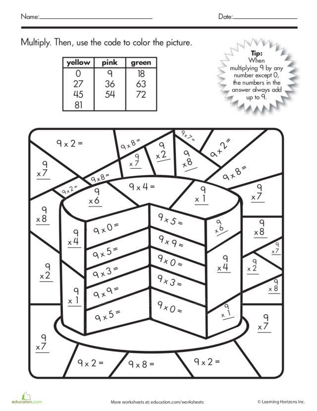 Multiplication Coloring Worksheet for 3rd - 4th Grade ...