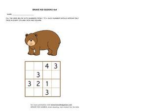 Brave Kid Sudoku #5 Worksheet