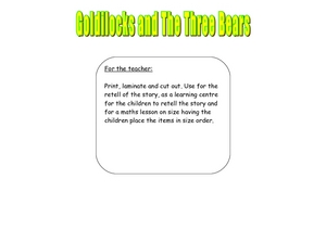 Goldilocks and the Three Bears Retell and Size Worksheet Set Worksheet