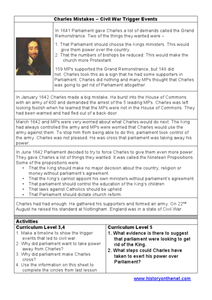 Charles' Mistakes: Civil War Trigger Events Worksheet