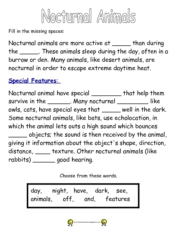 nocturnal animals cloze activity worksheet for 3rd grade. Black Bedroom Furniture Sets. Home Design Ideas