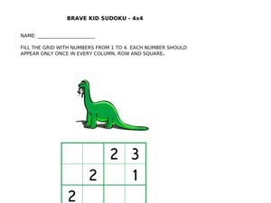 Brave Kids Sudoku 4 x 4 Worksheet