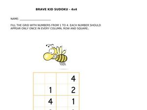 Brave Kid Sudoku 4 X 4 (Bumblebee) Worksheet