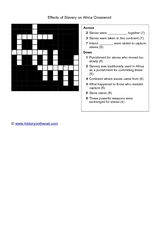 Effects of Slavery on Africa Crossword Worksheet