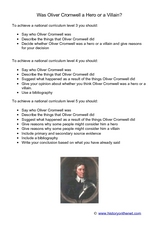 Oliver Cromwell Lord Protector of England Hero or Villain? Worksheet