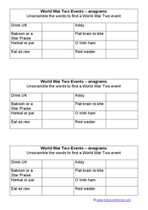 World War II Events: Anagrams Worksheet