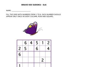 Brave Kid Sudoku - Butterfly Worksheet