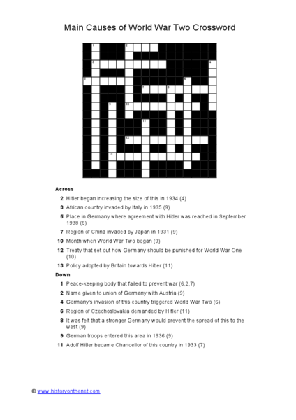 Main Causes Of World War Two Crossword Worksheet For 7th