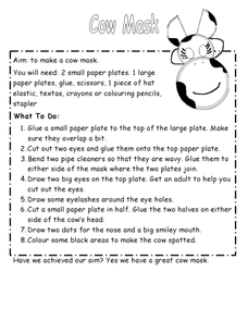 Make a Cow Mask Worksheet