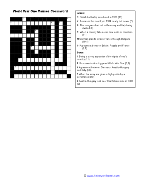World War One Causes Crossword Worksheet For 9th 12th