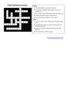 Tudor Costume Crossword Worksheet