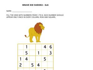 Brave Kid Sudoku: Lion Worksheet