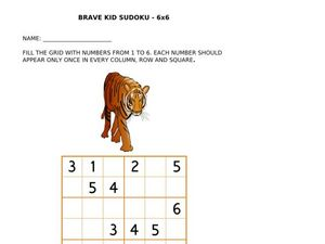 Brave Kid Sudoku: Tiger Worksheet